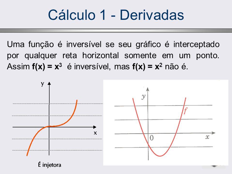 Cálculo 1 - Derivadas Uma função é inversível se seu gráfico é interceptado por qualquer reta horizontal somente em um ponto. Assim f(x) = x 3 é inver