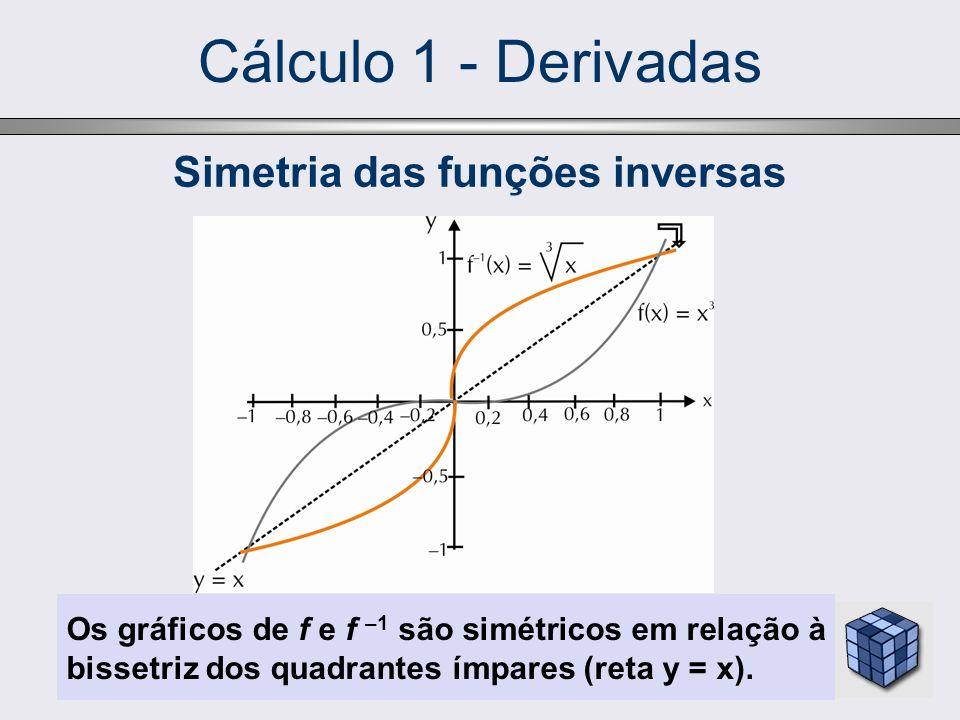 Cálculo 1 - Derivadas Os gráficos de f e f –1 são simétricos em relação à bissetriz dos quadrantes ímpares (reta y = x). Simetria das funções inversas