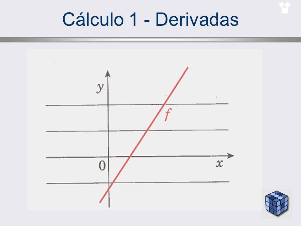 Cálculo 1 - Derivadas Derivada da função inversa –Se uma função derivável f tem inversa g, então g é também derivável e vale a seguinte igualdade: Exemplo –Considere a função f(x)=3x 2 + x –1 na vizinhança do ponto x = 2.