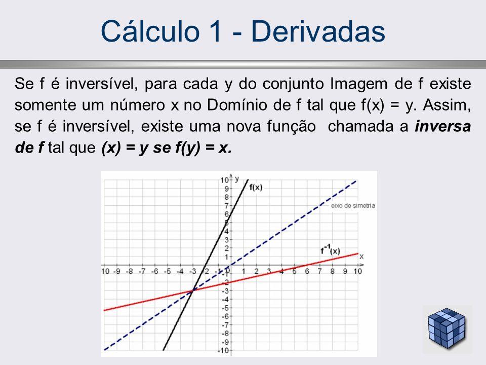Cálculo 1 - Derivadas Se g indica a função inversa de f, então, pela regra da derivada da inversa, temos: A derivada de g no ponto f(2)=13 é: