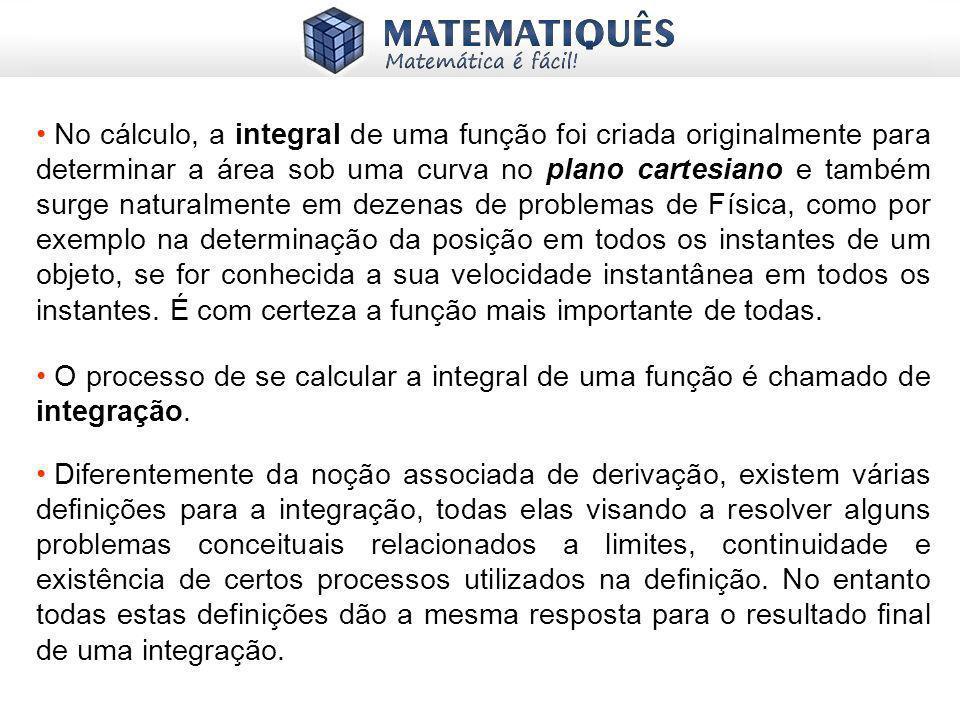 No cálculo, a integral de uma função foi criada originalmente para determinar a área sob uma curva no plano cartesiano e também surge naturalmente em