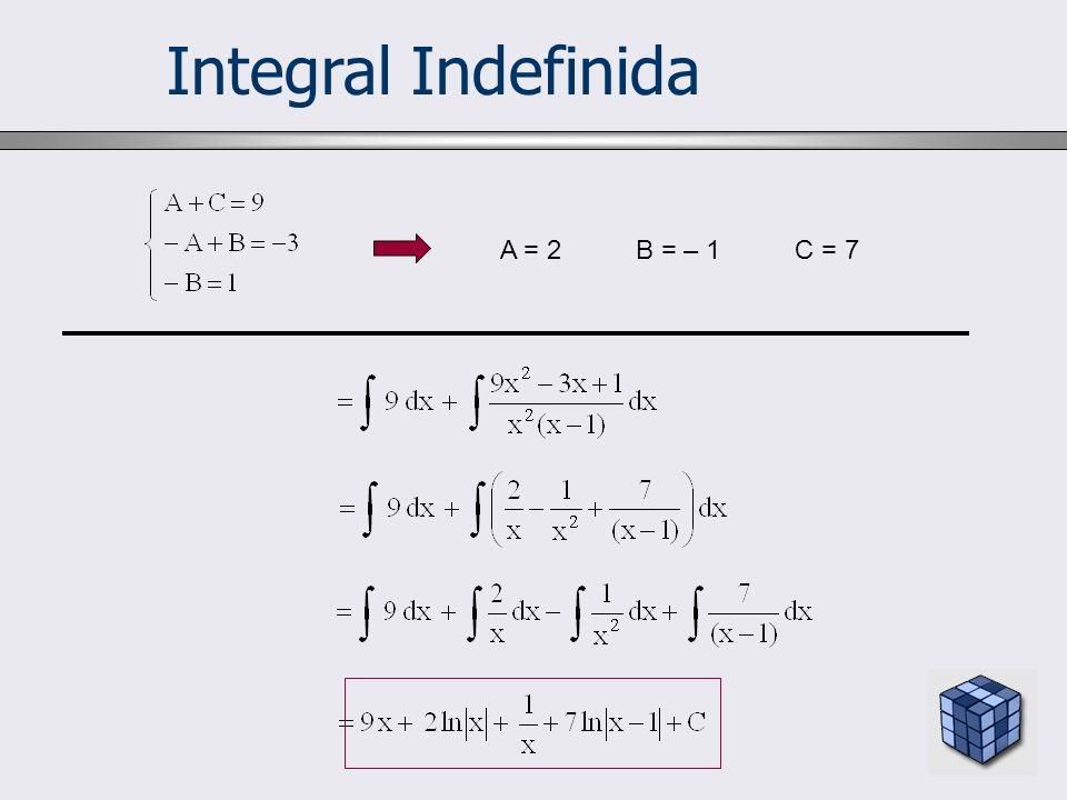 Integral Indefinida A = 2 B = – 1 C = 7