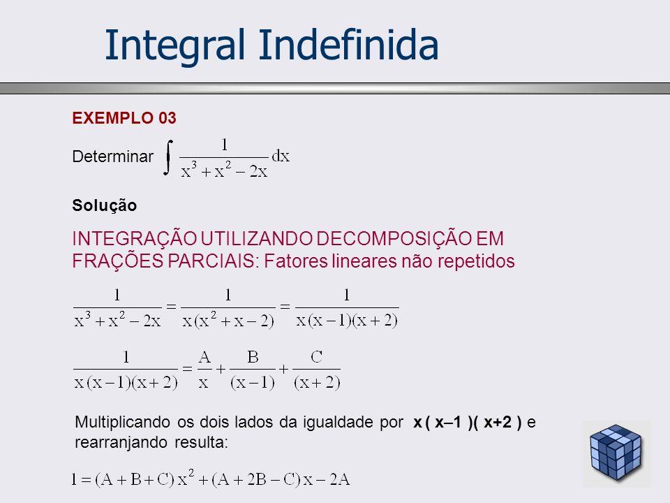 Integral Indefinida Solução INTEGRAÇÃO UTILIZANDO DECOMPOSIÇÃO EM FRAÇÕES PARCIAIS: Fatores lineares não repetidos EXEMPLO 03 Determinar Multiplicando