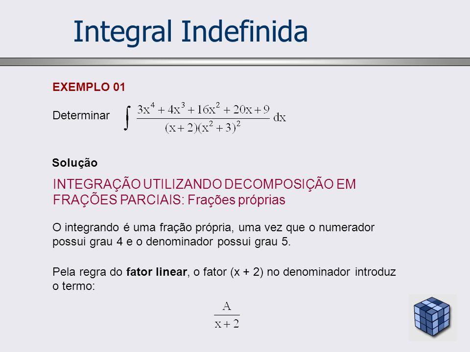 Integral Indefinida O integrando é uma fração própria, uma vez que o numerador possui grau 4 e o denominador possui grau 5. Pela regra do fator linear