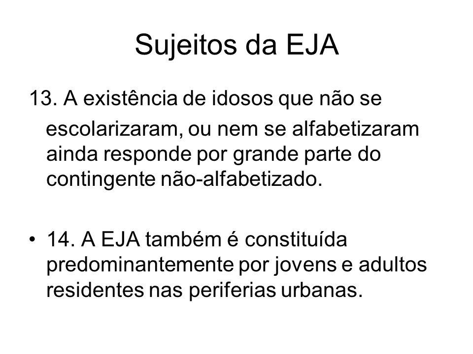 Sujeitos da EJA 13. A existência de idosos que não se escolarizaram, ou nem se alfabetizaram ainda responde por grande parte do contingente não-alfabe