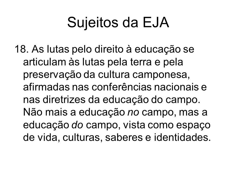 Sujeitos da EJA 18. As lutas pelo direito à educação se articulam às lutas pela terra e pela preservação da cultura camponesa, afirmadas nas conferênc
