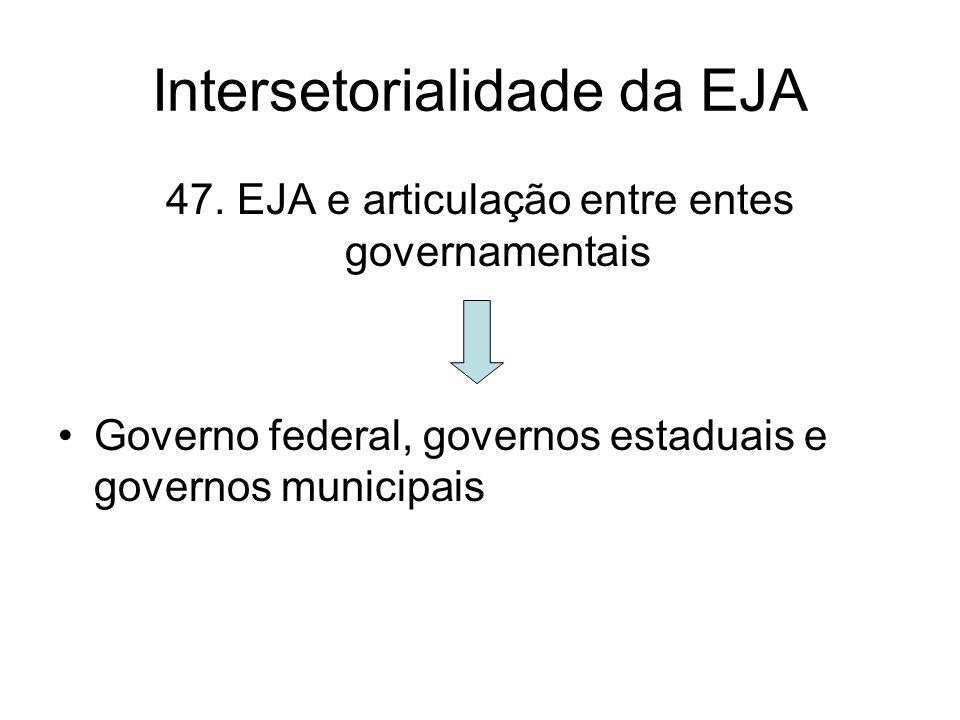 Intersetorialidade da EJA 47. EJA e articulação entre entes governamentais Governo federal, governos estaduais e governos municipais