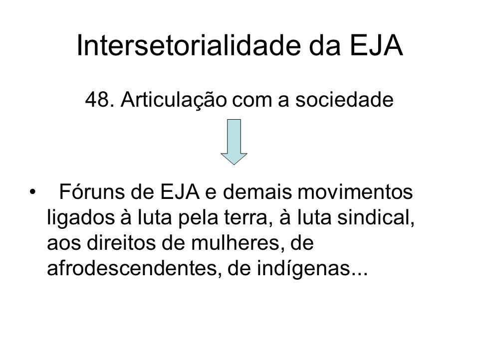 Intersetorialidade da EJA 48. Articulação com a sociedade Fóruns de EJA e demais movimentos ligados à luta pela terra, à luta sindical, aos direitos d