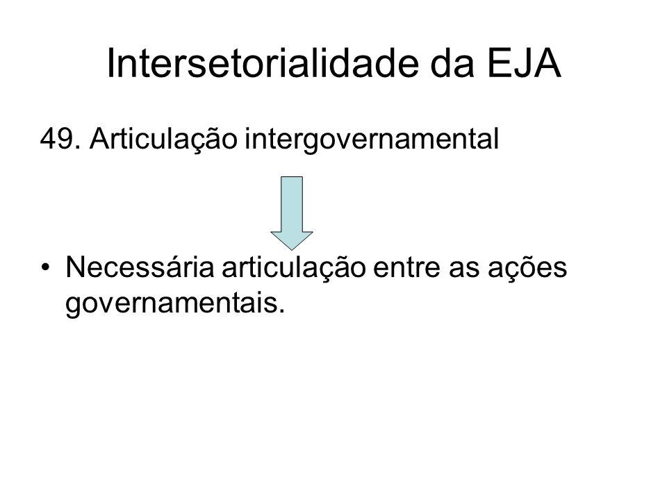 Intersetorialidade da EJA 49. Articulação intergovernamental Necessária articulação entre as ações governamentais.