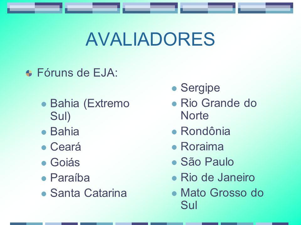 AVALIADORES Fóruns de EJA: Bahia (Extremo Sul) Bahia Ceará Goiás Paraíba Santa Catarina Sergipe Rio Grande do Norte Rondônia Roraima São Paulo Rio de Janeiro Mato Grosso do Sul
