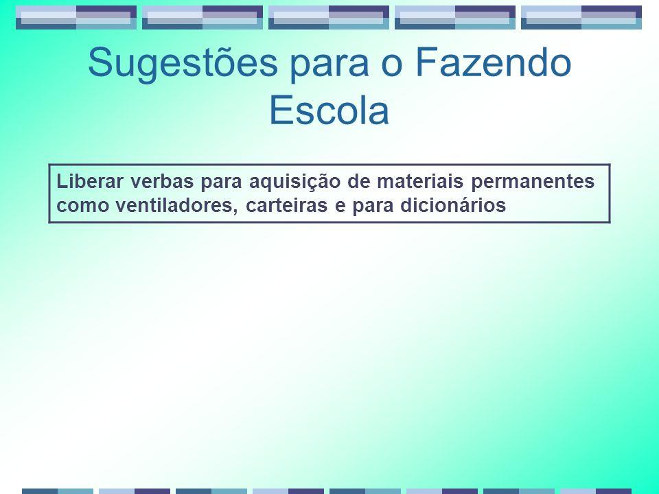 Sugestões para o Fazendo Escola Liberar verbas para aquisição de materiais permanentes como ventiladores, carteiras e para dicionários