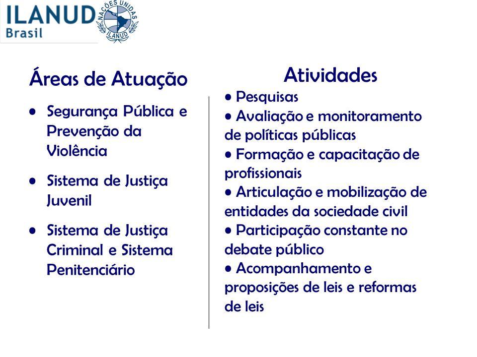 Áreas de Atuação Segurança Pública e Prevenção da Violência Sistema de Justiça Juvenil Sistema de Justiça Criminal e Sistema Penitenciário Atividades