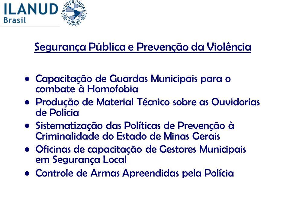Segurança Pública e Prevenção da Violência Capacitação de Guardas Municipais para o combate à Homofobia Produção de Material Técnico sobre as Ouvidori