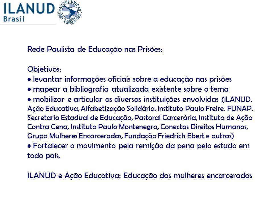 Rede Paulista de Educação nas Prisões: Objetivos: levantar informações oficiais sobre a educação nas prisões mapear a bibliografia atualizada existent