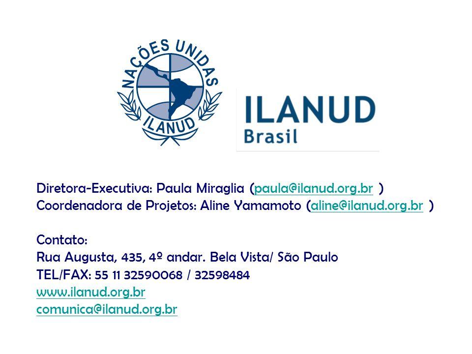 Diretora-Executiva: Paula Miraglia (paula@ilanud.org.br )paula@ilanud.org.br Coordenadora de Projetos: Aline Yamamoto (aline@ilanud.org.br )aline@ilan