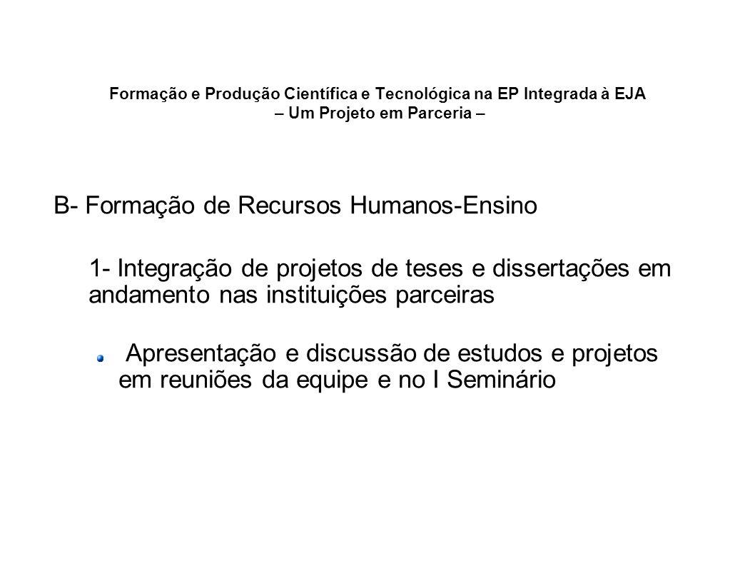 Formação e Produção Científica e Tecnológica na EP Integrada à EJA – Um Projeto em Parceria – B- Formação de Recursos Humanos-Ensino 1- Integração de