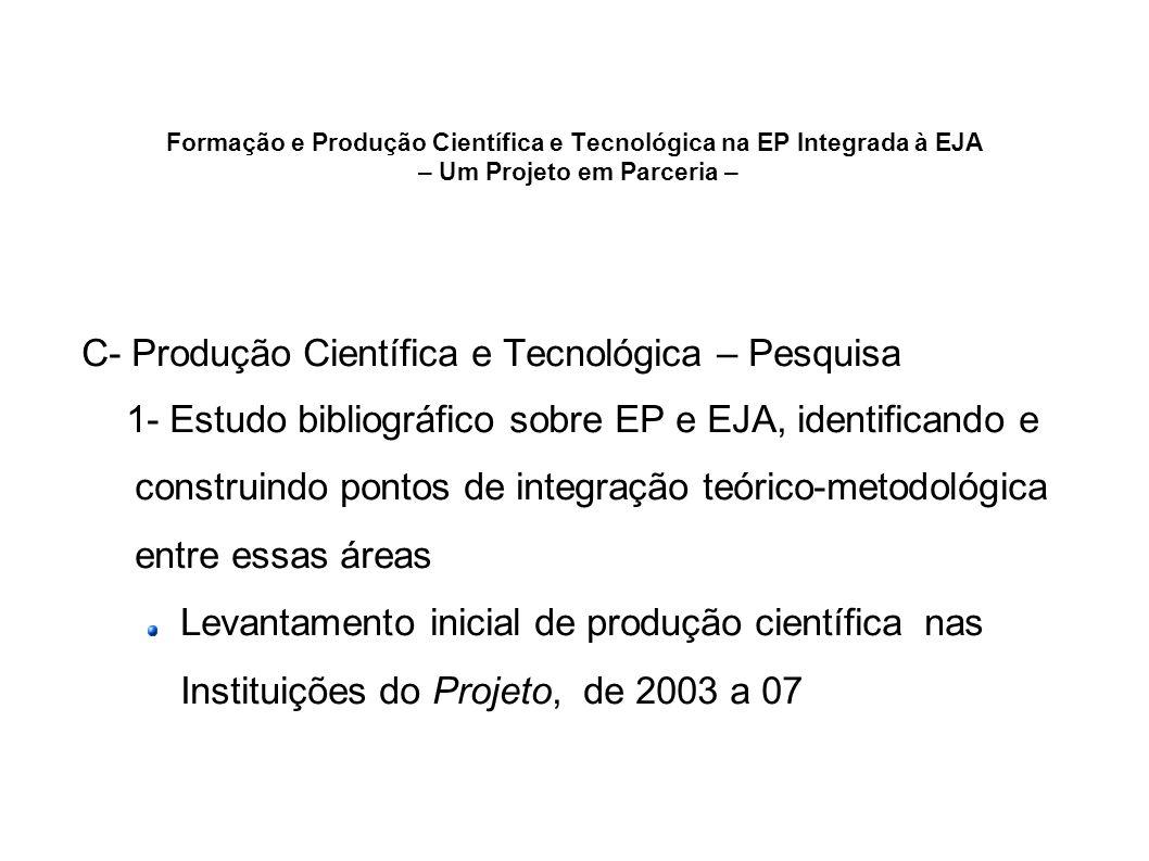 Formação e Produção Científica e Tecnológica na EP Integrada à EJA – Um Projeto em Parceria – C- Produção Científica e Tecnológica – Pesquisa 1- Estud