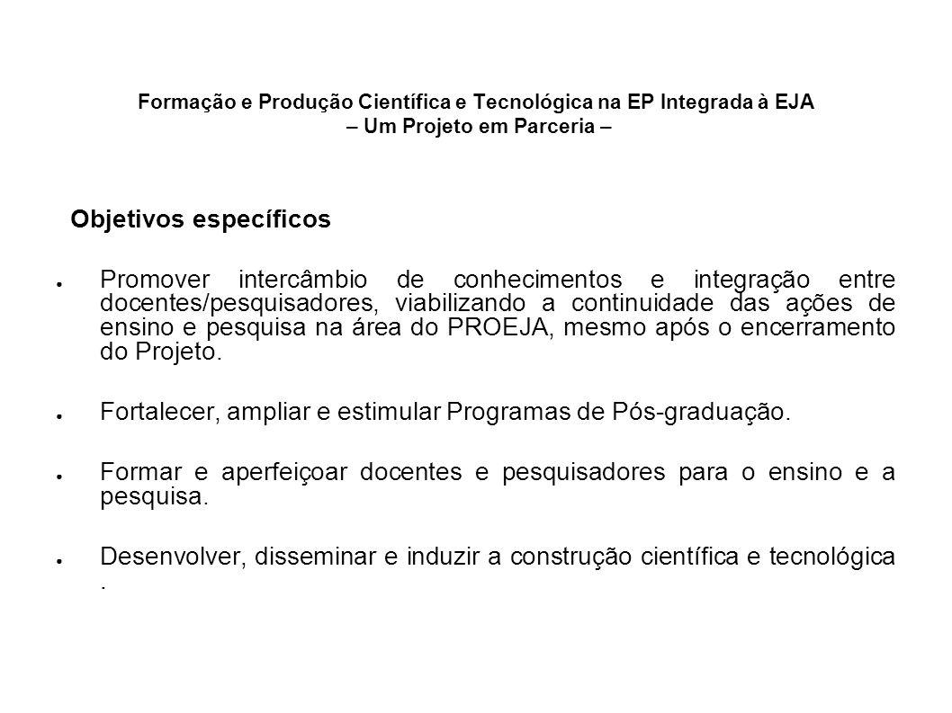 Formação e Produção Científica e Tecnológica na EP Integrada à EJA – Um Projeto em Parceria – Objetivos específicos Promover intercâmbio de conhecimen