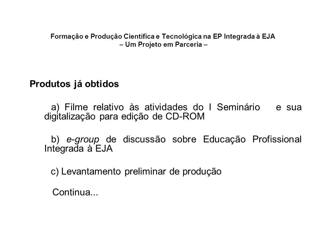 Formação e Produção Científica e Tecnológica na EP Integrada à EJA – Um Projeto em Parceria – Produtos já obtidos a) Filme relativo às atividades do I