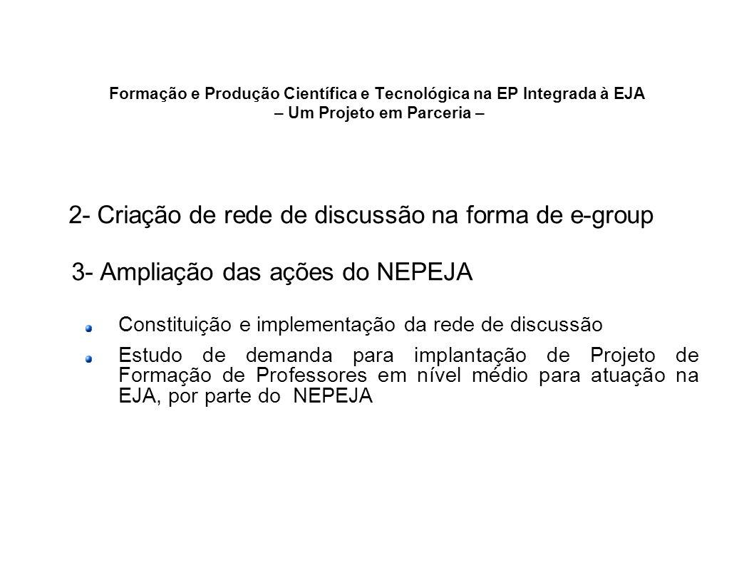 Formação e Produção Científica e Tecnológica na EP Integrada à EJA – Um Projeto em Parceria – 2- Criação de rede de discussão na forma de e-group 3- A