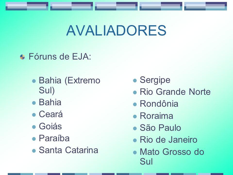 AVALIADORES Fóruns de EJA: Bahia (Extremo Sul) Bahia Ceará Goiás Paraíba Santa Catarina Sergipe Rio Grande Norte Rondônia Roraima São Paulo Rio de Jan