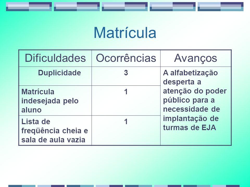Matrícula DificuldadesOcorrênciasAvanços Duplicidade3A alfabetização desperta a atenção do poder público para a necessidade de implantação de turmas d