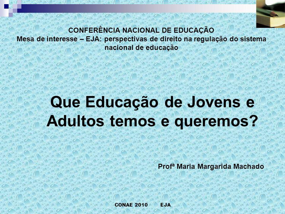 CONFERÊNCIA NACIONAL DE EDUCAÇÃO Mesa de interesse – EJA: perspectivas de direito na regulação do sistema nacional de educação CONAE 2010 EJA Que Educação de Jovens e Adultos temos e queremos.