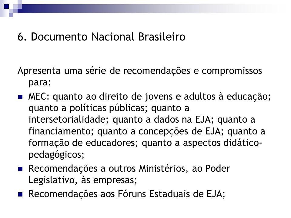 6. Documento Nacional Brasileiro Apresenta uma série de recomendações e compromissos para: MEC: quanto ao direito de jovens e adultos à educação; quan