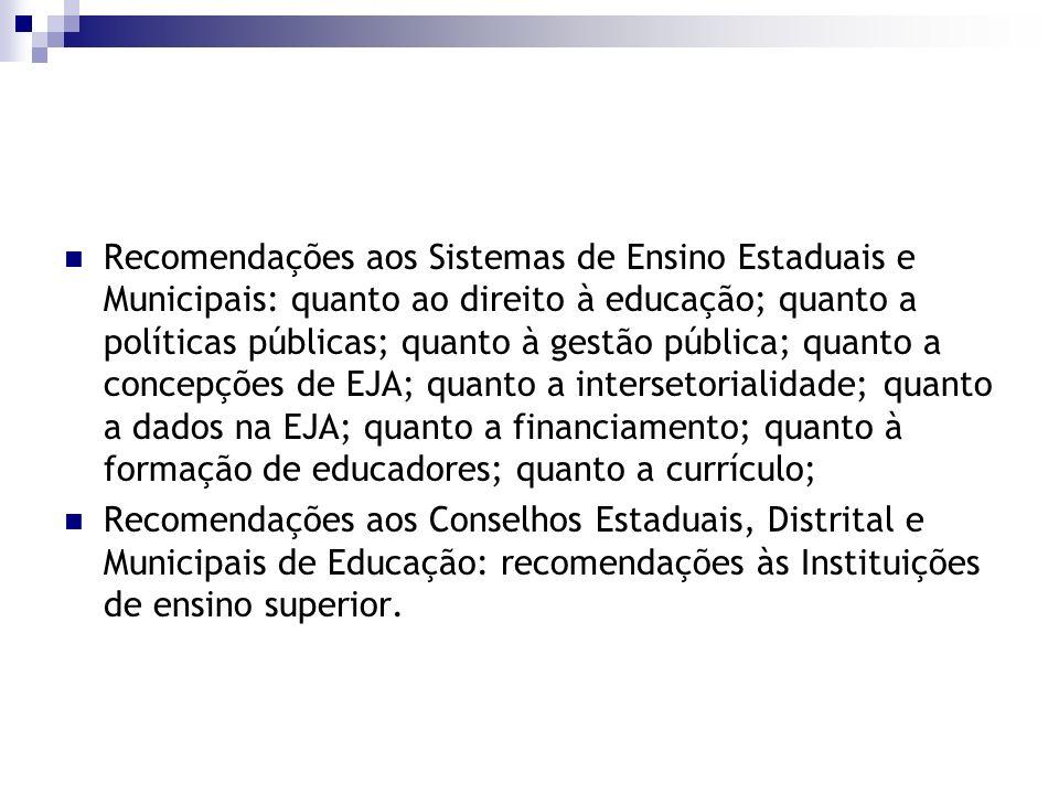 Recomendações aos Sistemas de Ensino Estaduais e Municipais: quanto ao direito à educação; quanto a políticas públicas; quanto à gestão pública; quant