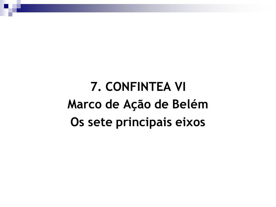 7. CONFINTEA VI Marco de Ação de Belém Os sete principais eixos