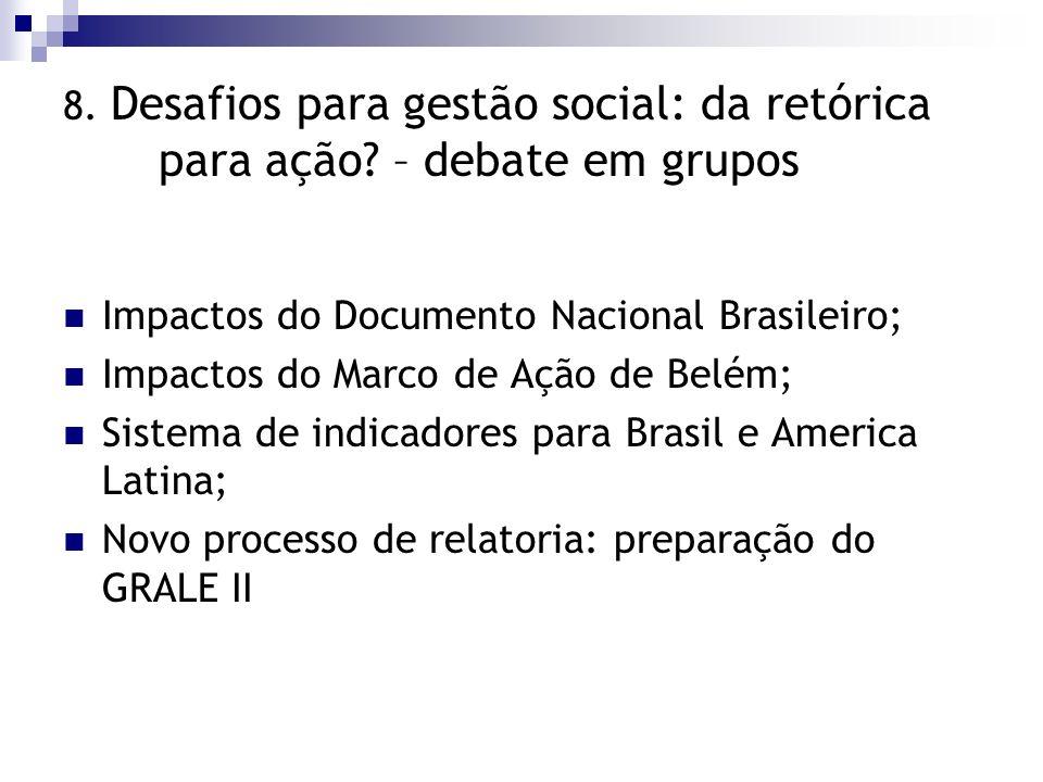 8. Desafios para gestão social: da retórica para ação? – debate em grupos Impactos do Documento Nacional Brasileiro; Impactos do Marco de Ação de Belé