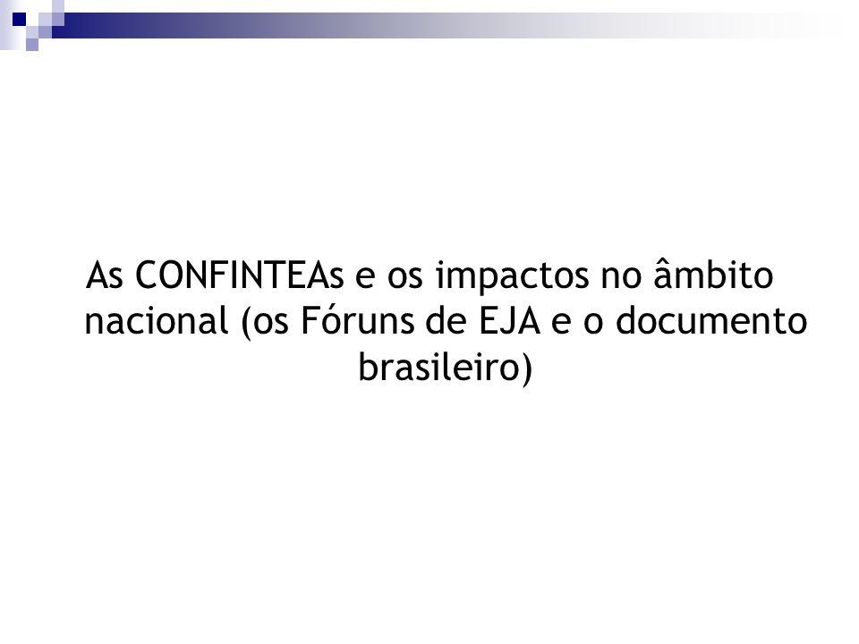 As CONFINTEAs e os impactos no âmbito nacional (os Fóruns de EJA e o documento brasileiro)
