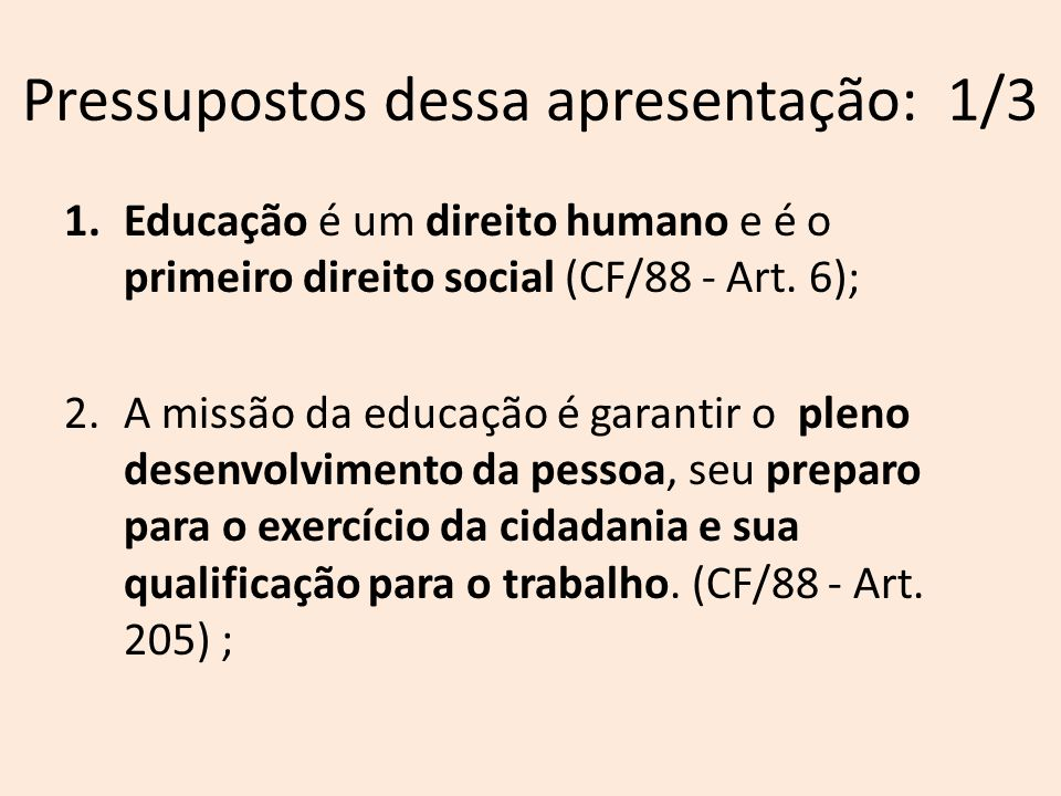 Pressupostos dessa apresentação: 2/3 3.A educação deve ser consagrada com base nos seguintes princípios (CF/88 – Art.