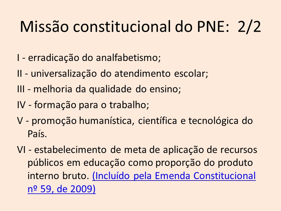 Principais críticas ao PL 8035/2010 Texto não corresponde à missão constitucional do PNE; PNE não possui metas intermediárias e indicadores de resultado para diversas metas; A âncora da qualidade da educação básica é ruim: IDEB/PISA; Texto não corresponde e chega a divergir de princípios e disposições da Conae; PL 8035/2010 não foi acompanhado de diagnóstico;