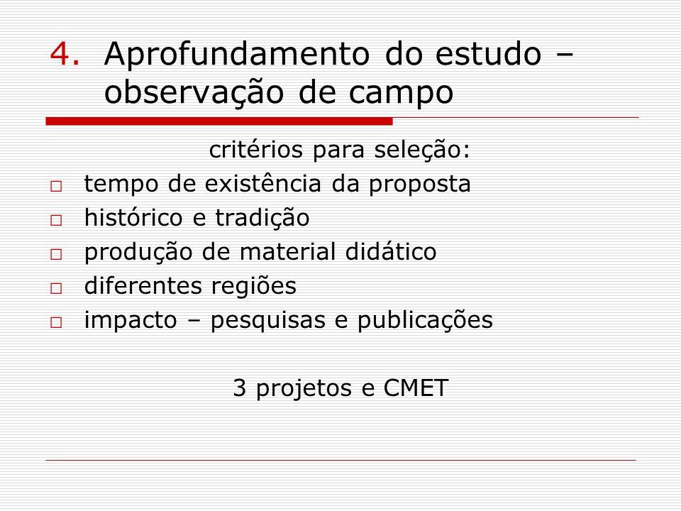 4.Aprofundamento do estudo – observação de campo critérios para seleção: tempo de existência da proposta histórico e tradição produção de material did