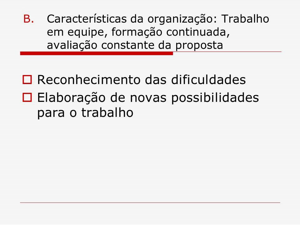 B.Características da organização: Trabalho em equipe, formação continuada, avaliação constante da proposta Reconhecimento das dificuldades Elaboração