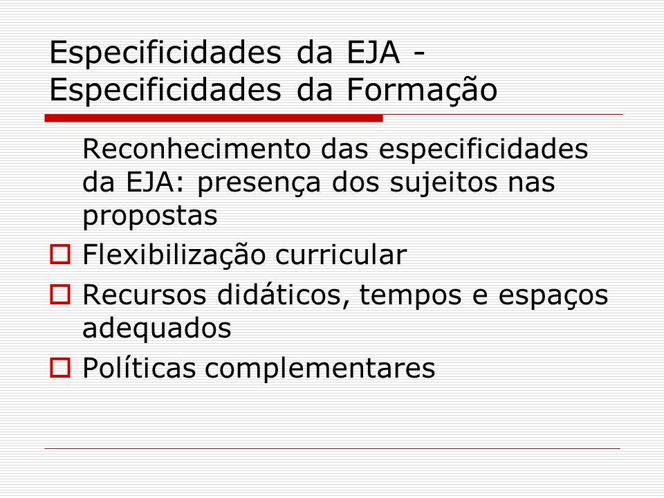 Especificidades da EJA - Especificidades da Formação Reconhecimento das especificidades da EJA: presença dos sujeitos nas propostas Flexibilização cur