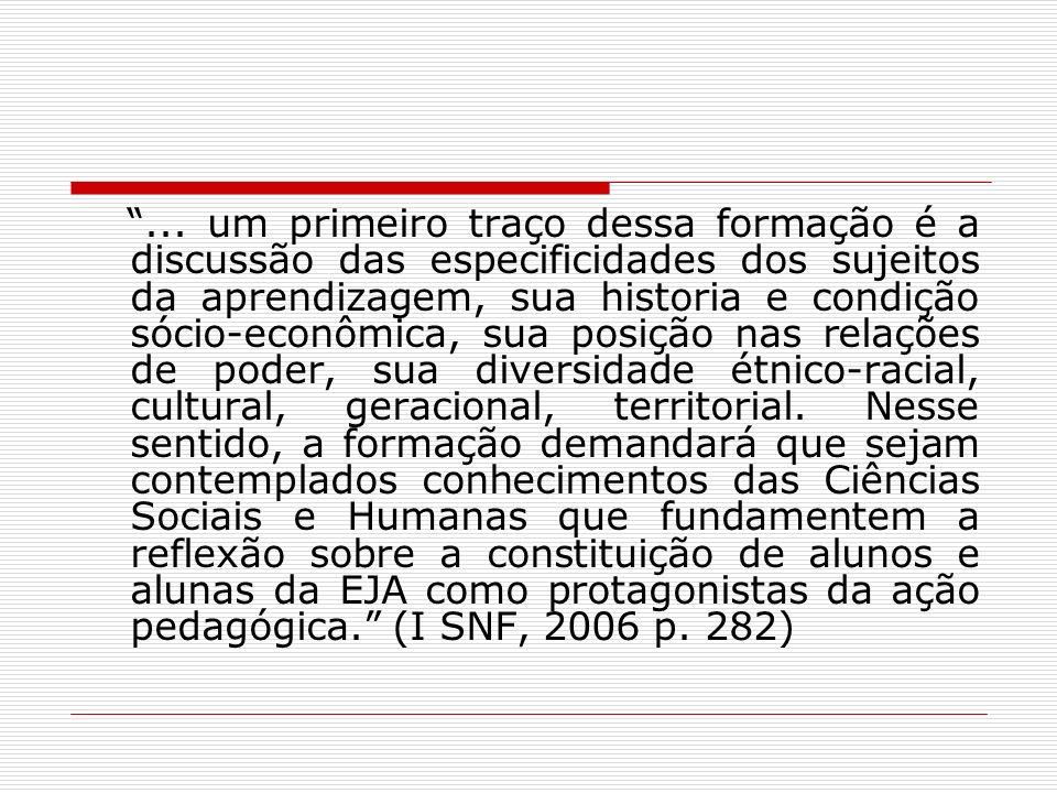 Especificidades da EJA - Especificidades da Formação Reconhecimento das especificidades da EJA: presença dos sujeitos nas propostas Flexibilização curricular Recursos didáticos, tempos e espaços adequados Políticas complementares