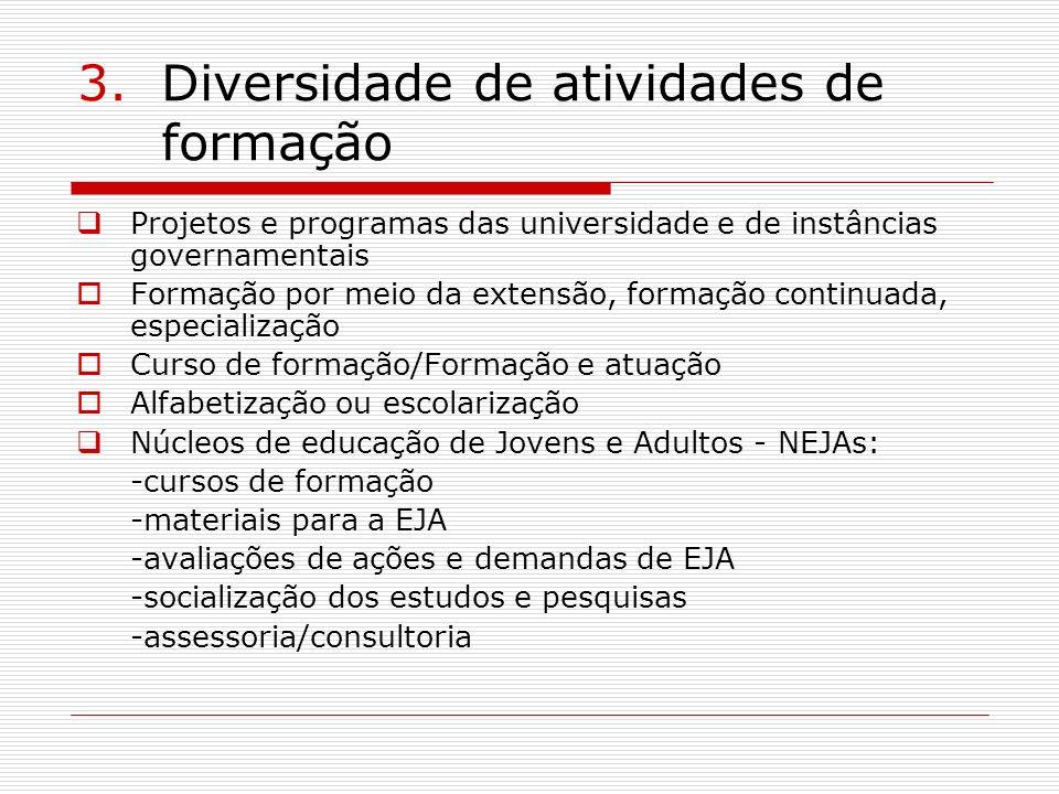 3.Diversidade de atividades de formação Projetos e programas das universidade e de instâncias governamentais Formação por meio da extensão, formação c