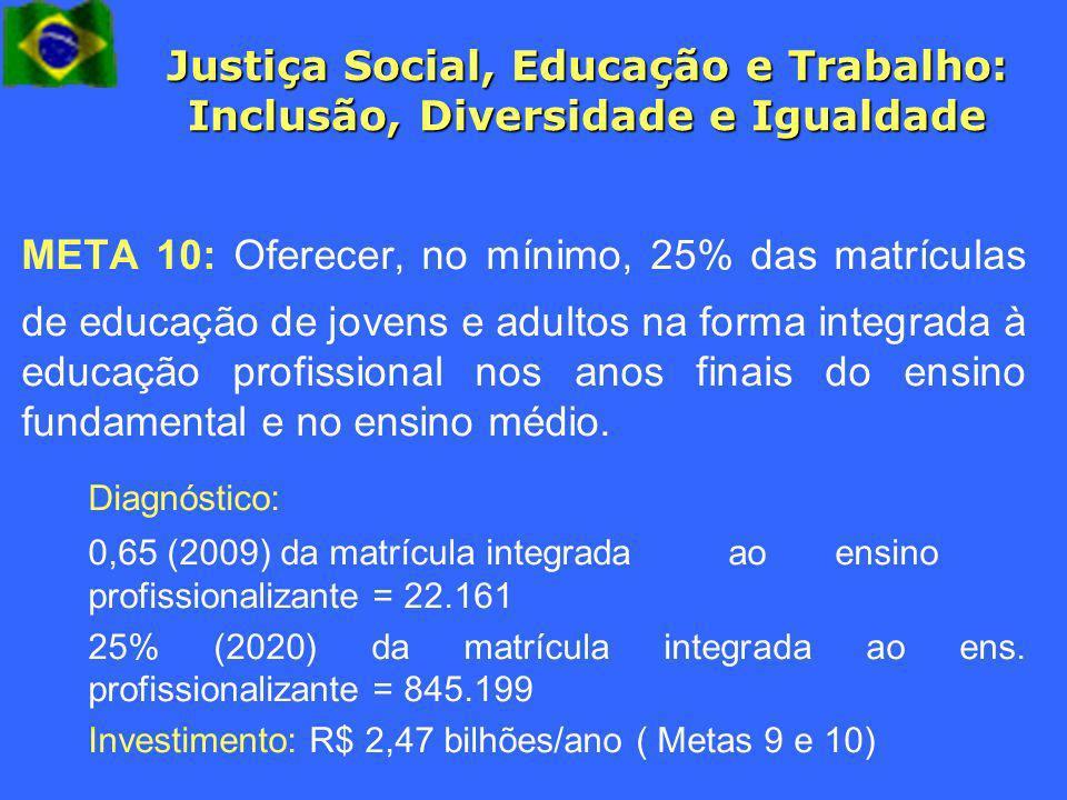 Justiça Social, Educação e Trabalho: Inclusão, Diversidade e Igualdade META 10: Oferecer, no mínimo, 25% das matrículas de educação de jovens e adulto