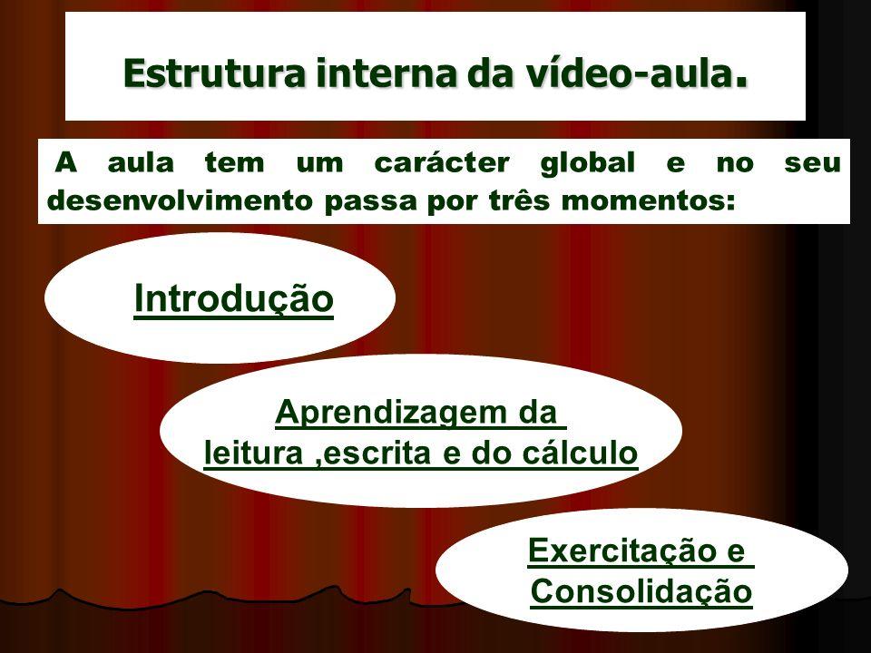 Estrutura interna da vídeo-aula. Introdução Aprendizagem da leitura,escrita e do cálculo Exercitação e Consolidação A aula tem um carácter global e no