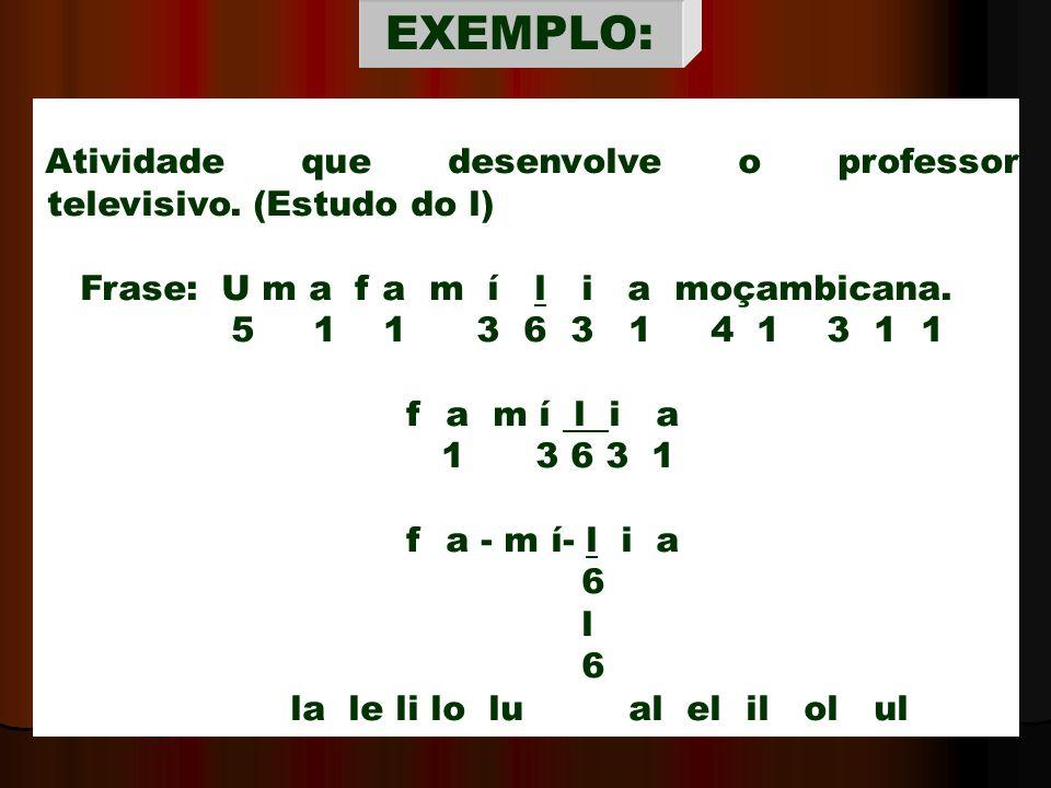 Atividade que desenvolve o professor televisivo. (Estudo do l) Frase: U m a f a m í l i a moçambicana. 5 1 1 3 6 3 1 4 1 3 1 1 f a m í l i a 1 3 6 3 1