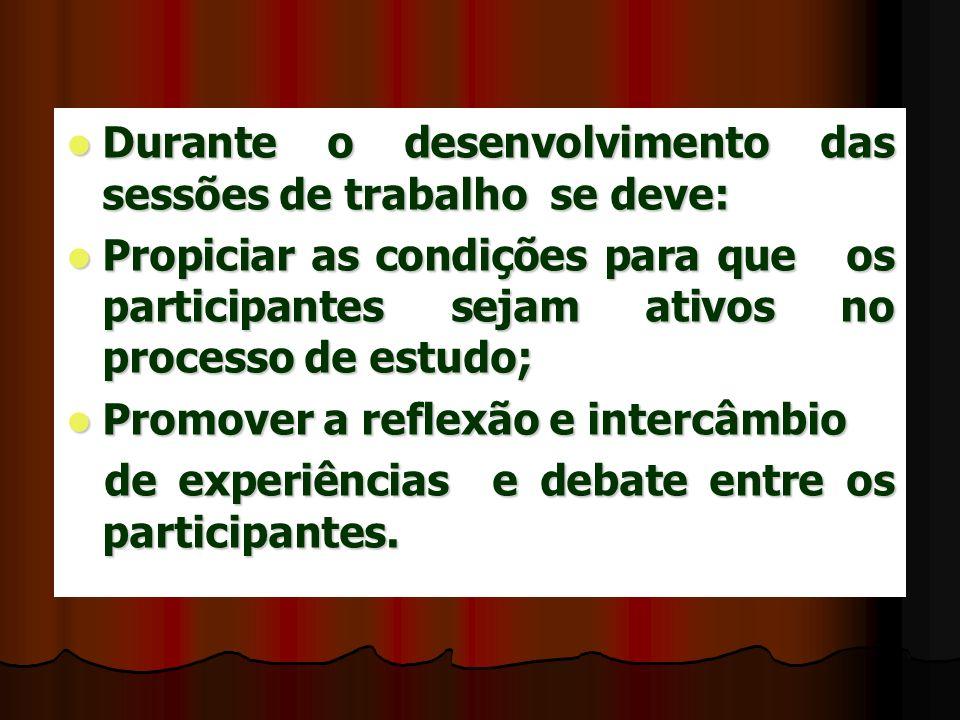 Durante o desenvolvimento das sessões de trabalho se deve: Durante o desenvolvimento das sessões de trabalho se deve: Propiciar as condições para que