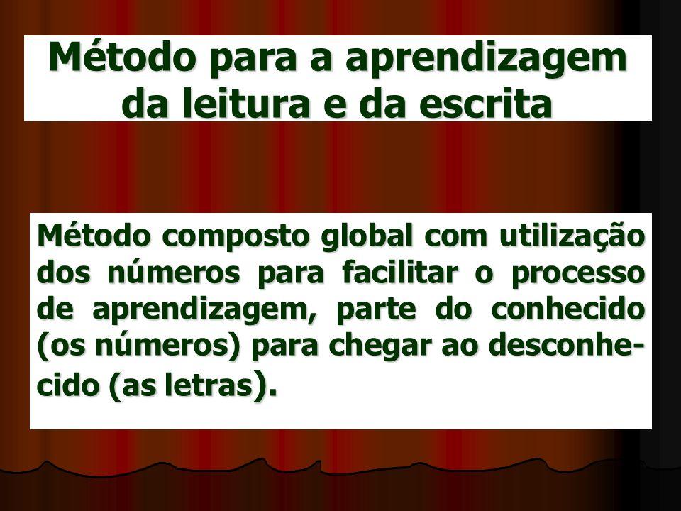 Método para a aprendizagem da leitura e da escrita Método composto global com utilização dos números para facilitar o processo de aprendizagem, parte