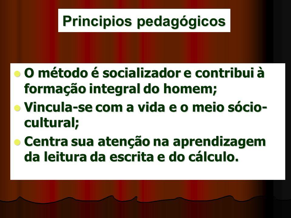 Principios pedagógicos O método é socializador e contribui à formação integral do homem; O método é socializador e contribui à formação integral do ho
