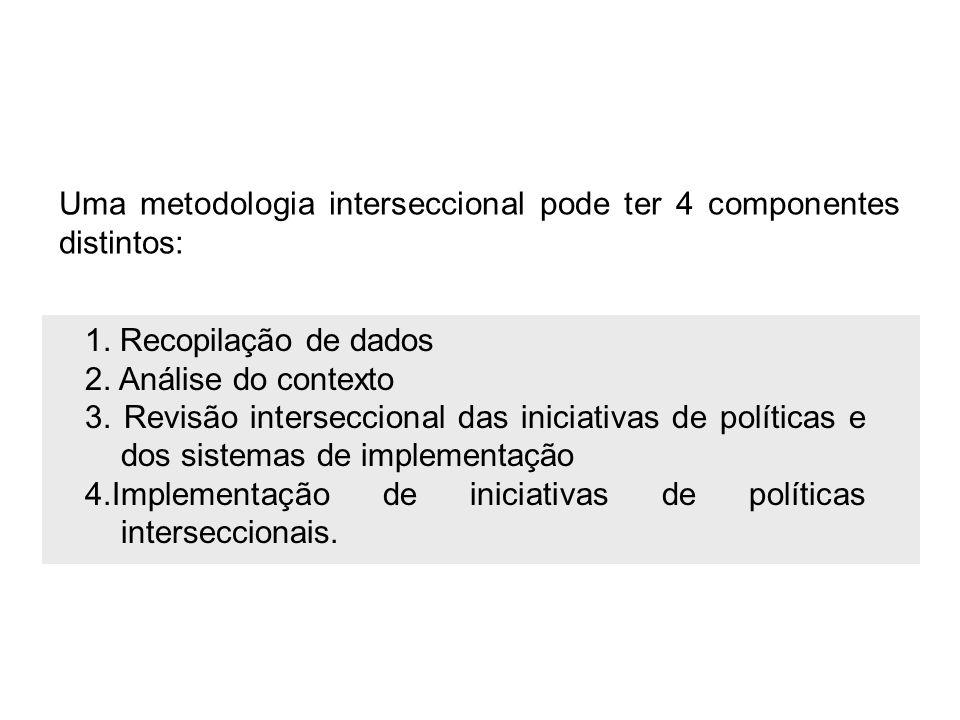 1. Recopilação de dados 2. Análise do contexto 3. Revisão interseccional das iniciativas de políticas e dos sistemas de implementação 4.Implementação