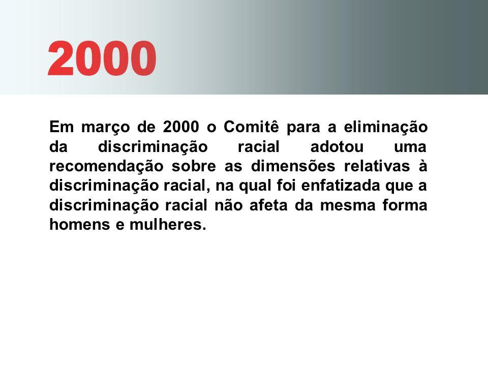Em março de 2000 o Comitê para a eliminação da discriminação racial adotou uma recomendação sobre as dimensões relativas à discriminação racial, na qu