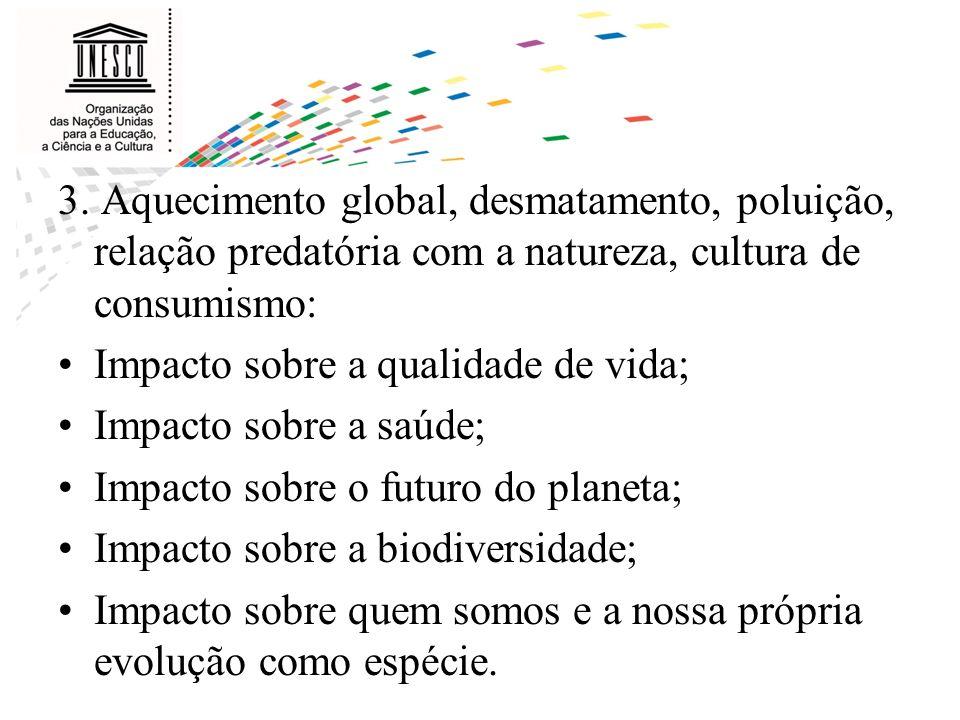 3. Aquecimento global, desmatamento, poluição, relação predatória com a natureza, cultura de consumismo: Impacto sobre a qualidade de vida; Impacto so