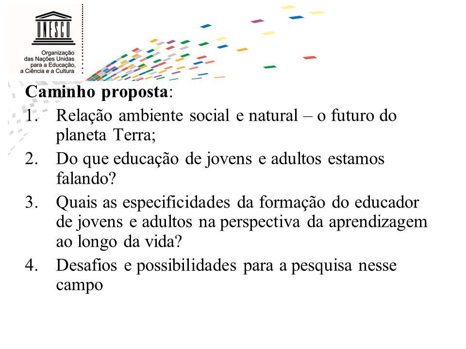 Caminho proposta: 1.Relação ambiente social e natural – o futuro do planeta Terra; 2.Do que educação de jovens e adultos estamos falando? 3.Quais as e