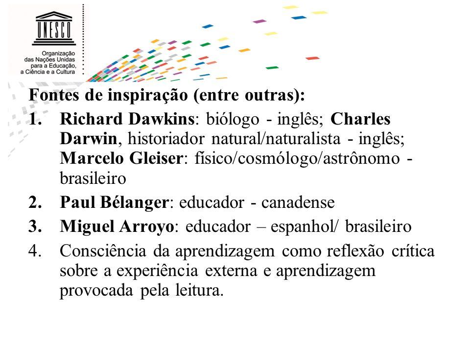 Fontes de inspiração (entre outras): 1.Richard Dawkins: biólogo - inglês; Charles Darwin, historiador natural/naturalista - inglês; Marcelo Gleiser: f
